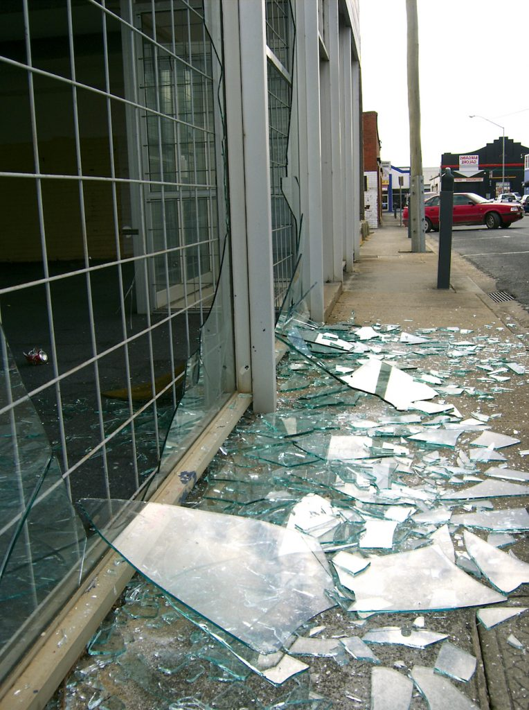 broken shop window film san antonio