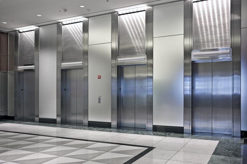 lobby with elevators in the office building