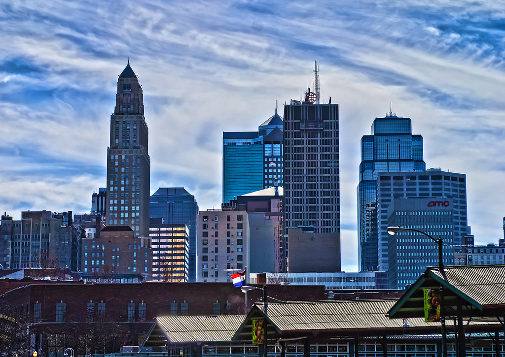 The Kansas City MO skyline from the City Market